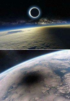 Eclipse Solar visto do Espaço. (Representação)