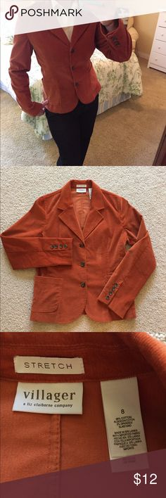 Blazer by Villager a Liz Claiborne Company Perfect for your fall wardrobe, this burnt orange blazer is made of a stretchy corduroy and is super comfy! It's a size 8 but leans more to an 8/10. This is in excellent used condition. Liz Claiborne Jackets & Coats Blazers