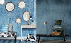 Denim Decor --Denim walls might be a fun idea Blue Rooms, Blue Walls, Denim Furniture, Denim Decor, Warehouse Living, Fabric Outlet, Mad About The House, Blue Color Schemes, Light Blue Color