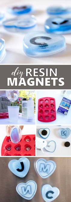 DIY fridge magnets made with resin. Monogram heart-shaped magnets. Fun back-to-school craft idea. via @resincraftsblog