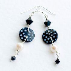 Black POLKA Drop Earrings - Button Jewelry / fashion / bridesmaid jewellery / Prom. £22.00, via Etsy.