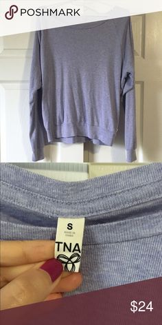 """Aritzia TNA purple pullover sweater S Can sell on eBay for cheaper! Great condition. Gently worn a few times and only selling now bc I'm trying to get away from the casual look. Extremely comfy. Looser, casual fit. 52 cotton / 24 polyester / 24 rayon. 21"""" across, 21"""" long. Aritzia Sweaters Crew & Scoop Necks"""