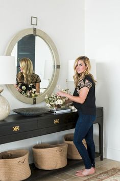 Studio McGee Home + Closet Style Guide— entry table* Entry Foyer, Entryway Decor, Entry Mirror, Entryway Bench, Lounge Design, Flur Design, Entry Way Design, Hallway Decorating, Decorating Ideas