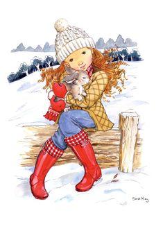 En la nieve, con un conejo - Sarah Kay