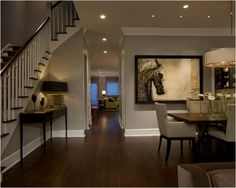Floors and wall color Honore-Transitional Dining Room - contemporary - dining room - chicago - by Michael Abrams Limited Dining Room Wall Decor, Dining Room Design, White Baseboards, Wood Baseboard, Houses Architecture, Traditional Dining Rooms, Sweet Home, Dark Wood Floors, Dark Hardwood