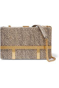 ALEXANDER MCQUEEN Cage Elaphe Shoulder Bag. #alexandermcqueen #bags #shoulder bags #suede