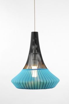 black/blue pendant wired lamp from the UK