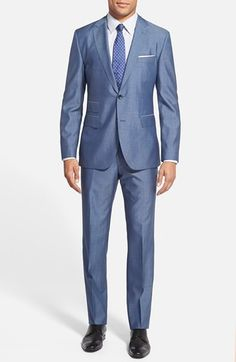 BOSS 'Jacobs/Lenon' Trim Fit Wool & Silk Suit available at #Nordstrom