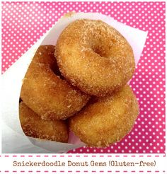 Gluten Free Snickerdoodle Donuts, plus they are baked not fried!! <3 ~ I must try these!! These look just like the old Morton donuts I used to eat when I was younger... I loved them!