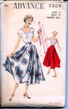 Advance 5509 Vintage 1940's Sewing Pattern.  Scoop blouse, circle skirt #1940s #ladies #advance #vintage #patterns #sewing #retro #vintagestitching