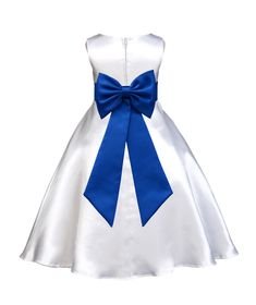 White A-Line Satin Flower Girl Dress Wedding Pageant First Communion Recital Special Occasions 821T