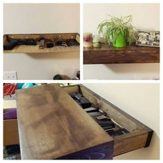 Rustic wood floating shelf with hidden by SheltonWoodworks on Etsy