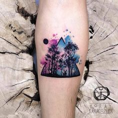 Watercolor Forest Tattoo