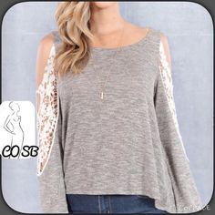Sexy Taupe Grayish w/Cut Out Shoulders Sexy taupe grayish  top with large cut out shoulders surrounded by lace. Lace extends past elbows. Top is loose fitting, stops @ end of waist. Longer back than front. Cute, sexy, & comfy. Have sizes small-large. Will create separate listing. USA Cycle Boutique Tops Tees - Long Sleeve