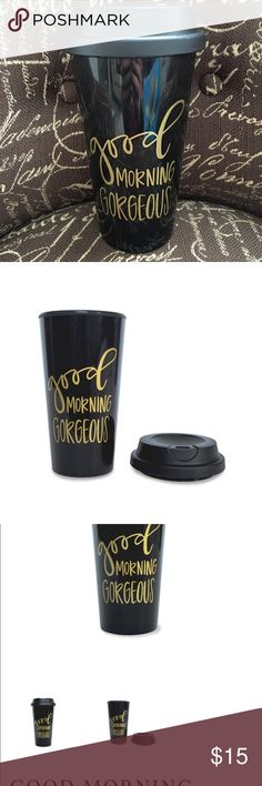 """☕️NEW! Good Morning Gorgeous 16 oz Travel Mug☕️ New/Never Used. The Created Co. """"Good Morning Gorgeous"""" black with gold print. 16 oz tumbler. Measures 7"""" x 3-5/8"""". Made of single wall polypropylene with threaded lid. BPA free. Giftable or super cute to keep for yourself! ☺️ Comes from smoke free, very clean home. The Created Co. Other"""