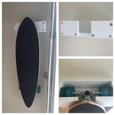 Scrap wood skateboard or longboard rack