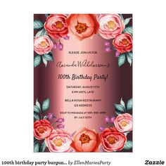 Any age birthday party burgundy pink florals invitation burgundy, Invitation Fete, Carton Invitation, Sweet 16 Invitations, Elegant Invitations, Party Invitations, 21st Birthday Invitations, 90th Birthday Parties, Sweet 16 Birthday, Florals