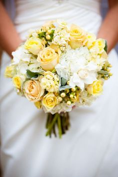 Bride's Bouquet Comprised Of: Yellow Roses, Yellow Spray Roses, White Hypericum, White Hydrangea, White Gardenias Yellow Wedding Flowers, White Wedding Bouquets, Bride Bouquets, Bridal Flowers, Yellow Roses, Floral Wedding, Wedding Colors, Boquet, Bouquet Wedding
