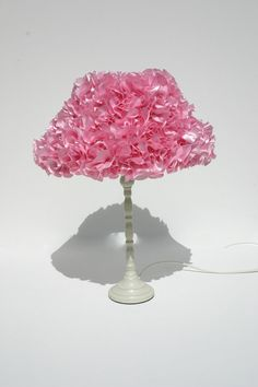 A stunning baby pink ruffle lampshade that will add instant WOW factor to any room in your home. This lampshade has been handmade with a beautiful satin fabric, each ruffle is individually placed to create this gorgeous textured effect.  Dimensions  Height - 9  Width at base - 13  Use 30W bulb Max (low energy bulb)  All lampshades have been treated with Flametect C. Flame Retardant spray in full compliance with The furniture & furnishings (Fire) (Safety) Regulations 1988.