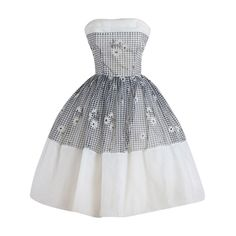 Vintage 1950s Gingham Daisy Cocktail Dress | From a collection of rare vintage evening dresses at https://www.1stdibs.com/fashion/clothing/evening-dresses/