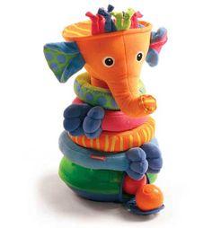 tiny love пирамидка слоник  ~1000  Классика, хотя внешне мне не нравится :) Уши шуршат, внутри шарики, при попадании шарика внутрь звучат аплодисменты и т.п. Также ее можно собирать как пирамидку, руки/ноги закреплены на липучки. Кольца все фактурные.