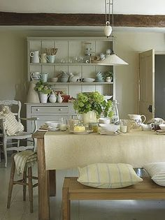 Gray hutch with white interior. Brabourne Farm: Stylish Dressers