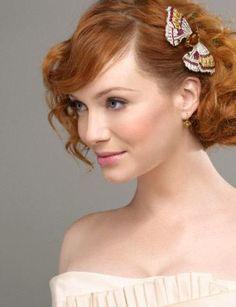 Christina Hendricks hair w/o the butterfly - maybe a flower