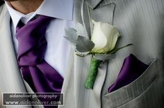 Forget black tuxes for the groomsmen, they're going silver! the purple compliments it so well #bhbride