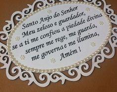 placa oração anjo da guarda pérolas