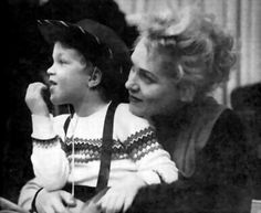 Judy Holliday & her son, Jonathan Oppenheim...Jonathan Oppenheim grew up to become a documentary film editor of note.