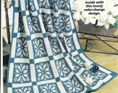 Snowflake Afghan Crochet Pattern P-092 Home Decor Throw