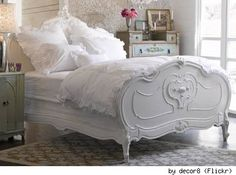 Love the bed frame bedding needs some color