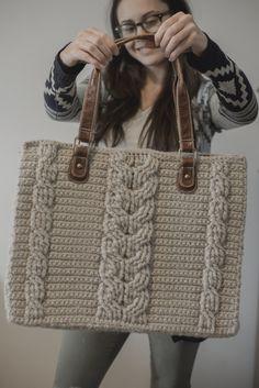 PDF Crochet Pattern for the Matilda Tote - Crochet Cables Ba.- PDF Crochet Pattern for the Matilda Tote – Crochet Cables Bag - Crochet Cable, Crochet Shell Stitch, Bead Crochet, Free Crochet, Ugly Purses, Purses And Bags, Crochet Handbags, Crochet Purses, Crochet Bags