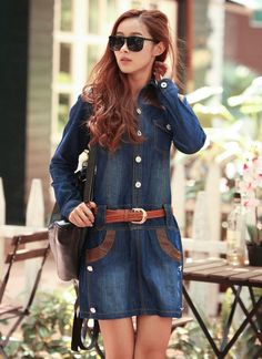 Korean Style Retro Big Size Denim Dress With Belt--Click on the picture link you will be able to get it, we support wholesale.