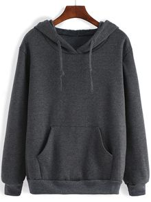 Shop Hooded Drawstring Pocket Loose Sweatshirt at ROMWE, discover more fashion styles online. Cute Lazy Outfits, Cool Outfits, Grey Hoodie, Sweater Hoodie, Hoody, Comfy Hoodies, Hooded Sweatshirts, Cotton Hoodies, Sweat Shirt