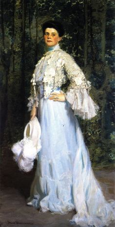 Portrait of: Mabel Conkling c.1904 - Oil on canvas  By: Frederick William MacMonnies (1863-1937). Famous portraitist/sculptor in the Beaux-Arts style during the Gilded Age. He was born in Brooklyn, NY, and passed away in NYC.