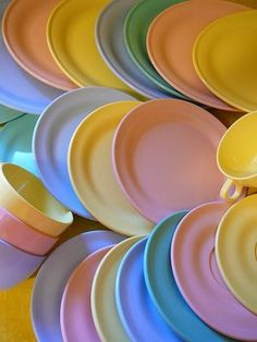 Mama's Melmac dishes  (I always remember the door-to-door salesman turning a plate over and standing on it!  Wow, it didn't break!  I was stunned!  Never forgot that.)