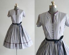 Vintage 1950s Dress / 50s Cotton Dress / Jerry Gilden Blue and White Checkered Dress w/ Waist Tie S