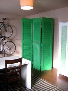 Hide water heater/other things in basement with brightly painted room divider. House Design, House, Painting Shutters, Remodel, Bifold Doors, Furnace Room, Folding Screen, Apartment Decor, Hide Water Heater