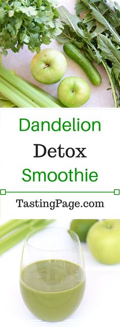 In need of some detoxification? Switch up your greens with this dandelion detox smoothie. Dairy Free, Gluten Free and Vegan | TastingPage.com