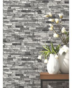 This Slate Stone Wallpaper in natural shades of grey will look great as a feature wall or when used to decorate a whole room! Free UK delivery available Stone Wall Living Room, Feature Wall Living Room, Living Room Grey, Living Rooms, Stone Wallpaper, Kitchen Wallpaper, Wall Wallpaper, Bedroom Feature Wallpaper, Grey Wallpaper Living Room