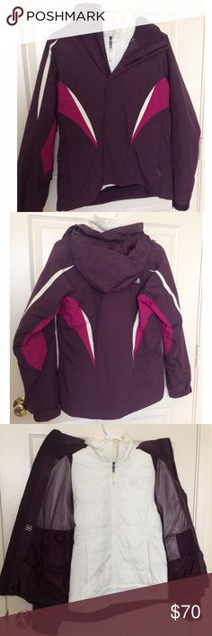 North face Jacket Ski Jacket with inner layer that is removable. Outer and inner pockets on purple layer. Outer pockets on white layer. Pocket for ski goggles also. Size small. North Face Other