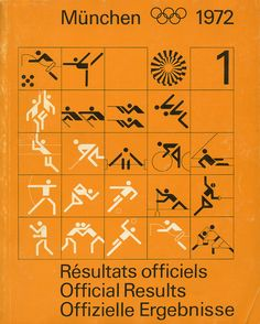Munich Olympics, Official Results by Otl Aicher, 1972 Olympic Icons, Olympic Logo, Olympic Games, Munich, International Typographic Style, Otl Aicher, Icon Design, Logo Design, Sports Graphics