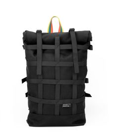 Rolltop black backpack for urban cycling daily by BraasiIndustry