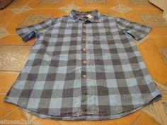 Men's Modern Amusement button up shirt CROW RARE short sleeve blue plaid XL