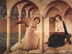 Fra Angelico - Annunciation.  crossed arms = sign of respect and Jesus' cross.  Depiction of real plants.  Early Renaissance respect for perspective, but persons are placed without perspective.