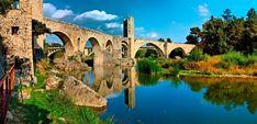 old bridges Greece | Old Bridge Over Fluvià's River, Besalú, Spain