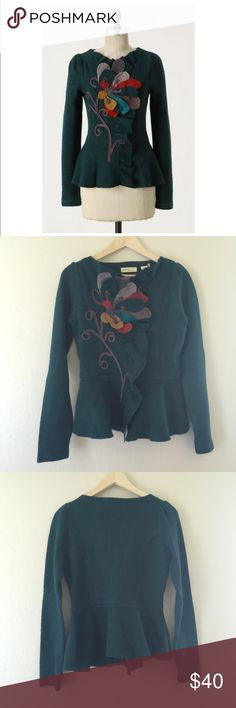 Anthropologie Summer's Reminder Cardigan NWOT. Winter's chill is no match for the appliqued aster that remains forever fresh on Sleeping On Snow's boiled wool beauty.   Snap closure  Wool  Hand wash  Imported  Style No. 19170315 Anthropologie Jackets & Coats