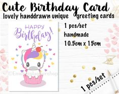 Unicorn Birthday Cards Greeting Cards by EmelysPlannerShop on Etsy