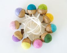 Acorn Christmas Ornaments Felt Decorations Needle by Fairyfolk, $20.00